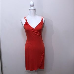 Silence + Noise Orange Red Strappy Dress Small